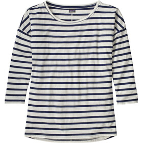 Patagonia Shallow Seas 3/4 Sleeved Top Women Midnight Stripe: Classic Navy